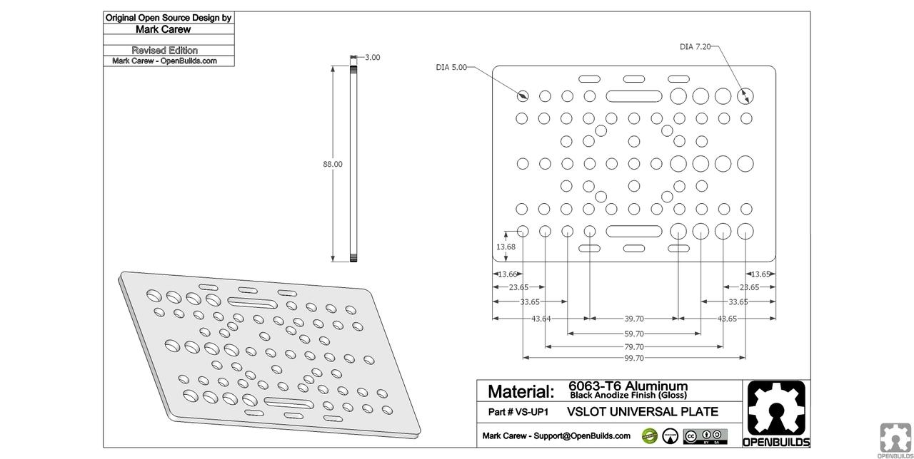 Gantry Plate V Slot 20x80 Openbuildsitalia